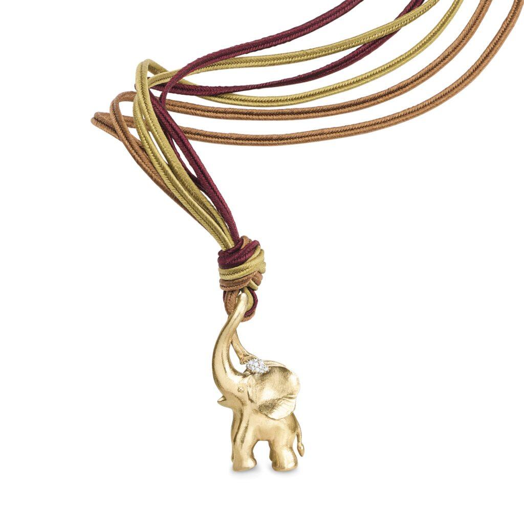 Ole Lynggaard – Seidenband 3 farbig mit Zirkus Elefant