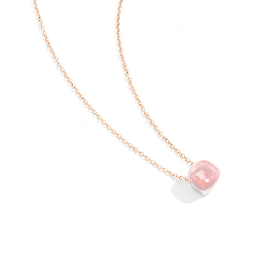 Pomellato – Nudo Rosenquarz Halskette mit Anhänger